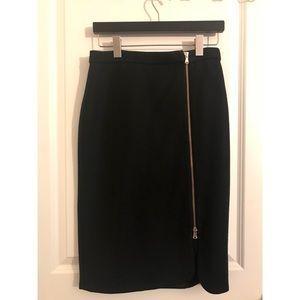 J. Crew Black Wool Gold Zipper Skirt